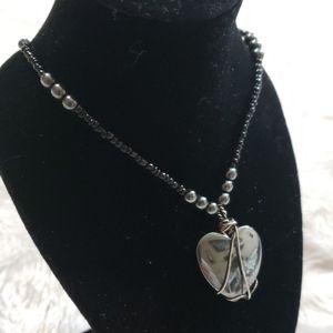 Black Obsidian Heart Necklace
